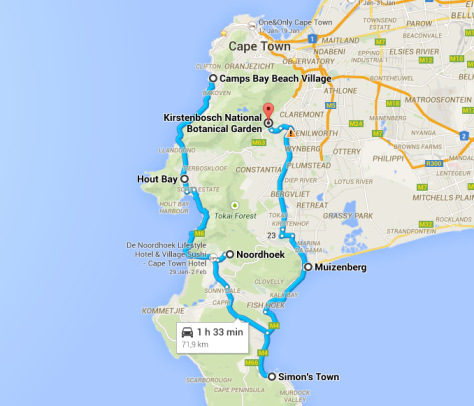 Cape Town Road Trip Map